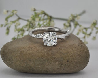 Branch Engagement Ring: Moissanite 1ct, gold twig