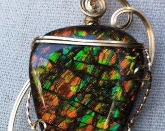 Ammolite Pendant with Pearls