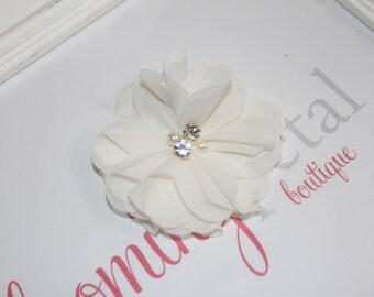 Ivory Chiffon Rhinestone/Pearl Flower Clip