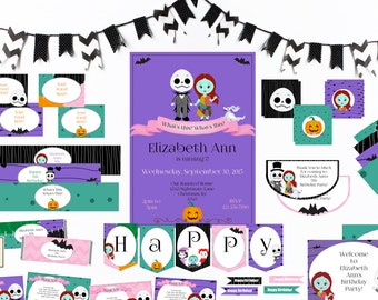 A Pretty Nightmare-Girl-Birthday-Printable Party Set-DIY Printable-Instant Download-Editable Files-Banner-Labels-Tags-Toppers-Sign