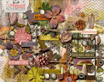 Rustic Digital Scrapbook Elements, Botanical Embellishments, Autumn Clipart, Nature Inspired, Woodland, Woodsy Theme, Instant Download