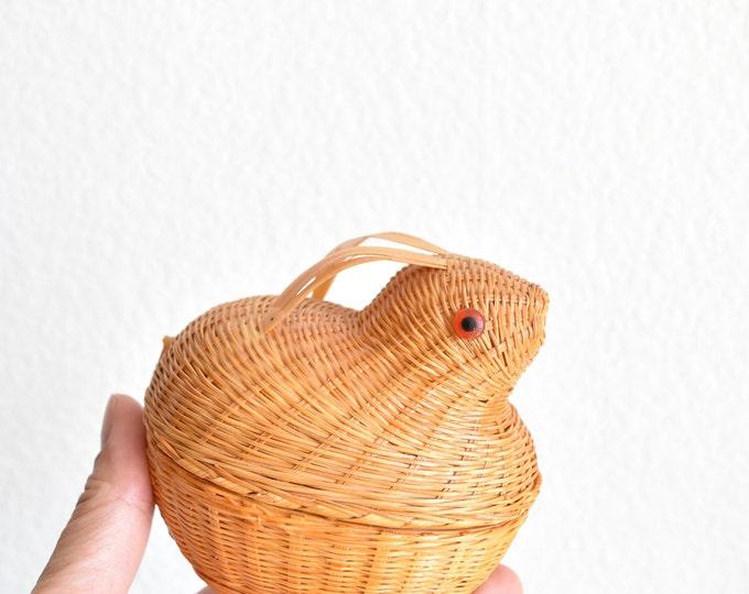 woven wicker rabbit easter basket planter / bunny flower pot sculpture / figurine