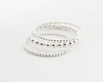 Ultra Thin Stacking Ring, Set of 3 Delicate Stacking Rings, Dot Rings 1,0 mm, Dot Ring 2 mm, 925 Sterling Silver Rings, Dainty Rings