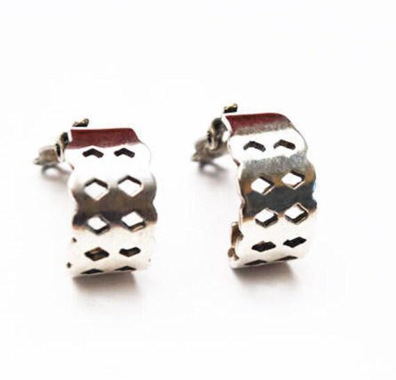 Sterling hoop earrings - silver half  hoop  - triangle -  Clip on earrings