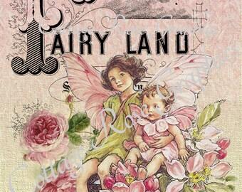 Pink FAIRY LAND printable digital image download vintage roses Fairies Buy 3 Get one Free