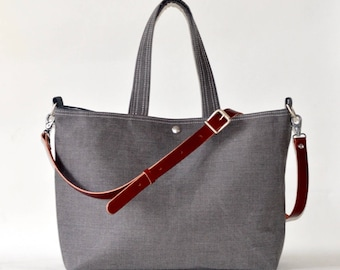 Waterproof canvas tote, Work bag, Messenger bag,Laptop bag, Carry all, Diaper bag,Travel bag,Black gray Striped tote