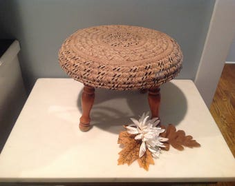 Vintage Wooden Footstool With Woven Cover