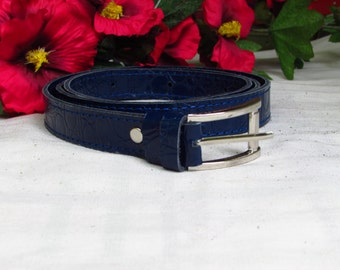 Blue leather belt, Women's blue belt, crocodile print belt, blue crocodile print belt, 2.5cm width belt, Leather women belt, Belt for women