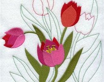 Tulip Towel - Embroidered Towel - Flower Towel - Embroidered Towel - Flour Sack  Towel - Hand Towel - Bath Towel - Apron - Fingertip Towel