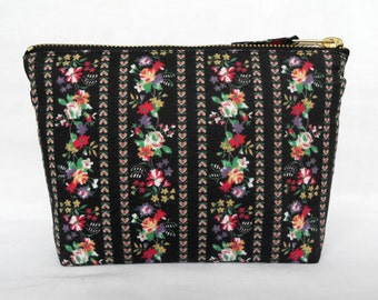 Retro Fabric Zip Purse, Cotton Make Up Bag, in a sweet ditsy floral on black. Flowers & Stripes