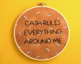 cash rules everything around me, wu tang clan, rap embroidery, wall art, wall decor, rap embroidery, killa bee, killer bees, 36 chambers