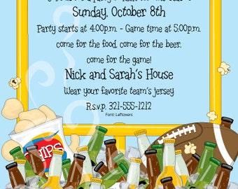 Football and Beer & BBQ Party Invitation, Superbowl Party, Adult Invite, Tailgating, Bash Celebration, Original Digital Invitation, IV524