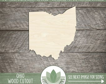 Wood Ohio State Laser Cut Shape, DIY Craft Supply, Home Decor Project, Many Size Options, USA Wood State Shapes, Blank Wood Shapes
