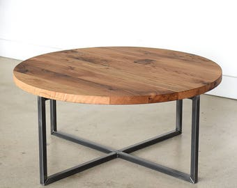 Round Coffee Table / Reclaimed Wood + Metal Base Coffee Table / Industrial Modern  Coffee Table