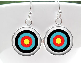 Archery Earrings  - Bulls Eye Earrings - Gift for an Archer or a Bowman or Toxophilite -Sterling Silver Posts - Sterling Silver French Hooks
