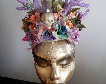 Headdress Horns Tribal Skull Festival Headgear Gothic Crown Halloween Headband Fascinator Fantasy Headwear Tiara Costume Forest Hat