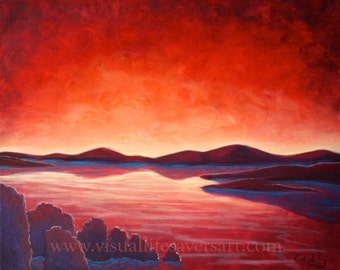 Luscious Serenity - Original Oil Painting - seascape- sunset- red- purple- water