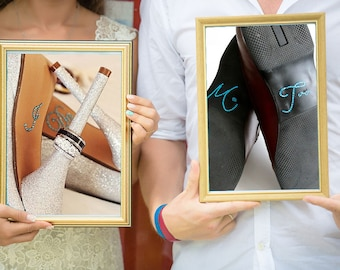 Bride and Groom Wedding I Do Shoe Stickers for the brides Something Blue & Scripted Me Too Stickers for the Groom