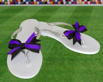 Purple + Black Bow Jelly Sandals