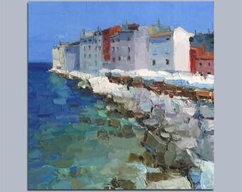 Original Oil Painting Croatia Povinj Cityscape Palette Knife Painting Sea Painting Wall Decor Fine Art Contemporary Art