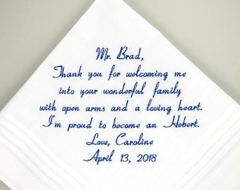 Father in Law Father of the Groom Gift from the Bride Personalized Wedding Handkerchief Gift Embroidered Hankerchief Printed Rustic