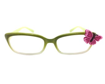 Women's Green 3.0 Strength Reading Glasses with a Hand-Applied Pink Butterfly Embellishment. Spring Hinges for Comfort!