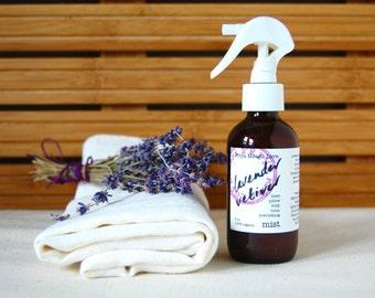 organic Lavender Vetiver linen spray - a calming spray, for pillows, linens, rooms, body, and hair (4 oz atomizer)