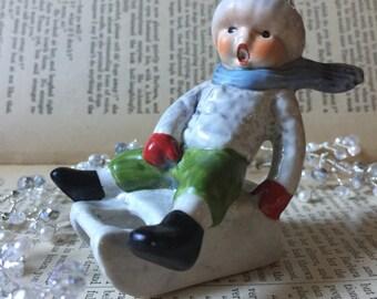 Vintage Goebel Hummel West Germany Boy on Sled Porcelain Figurine