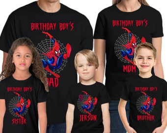 Spider-man Birthday Shirt Add Name & Age Spiderman Custom Birthday Party TShirt 01