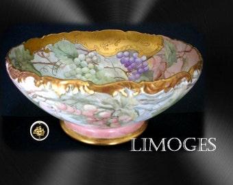 T & V Limoges LARGE vintage footed unique punchbowl