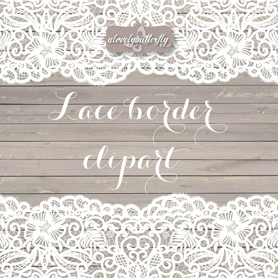 Wedding clipart lace border rustic clipart shabby chic