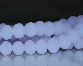 20 pcs 8x6mm Frost Lavender Lilac Periwinkle Rondelle Glass Beads FP