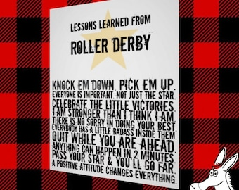 Roller Derby, Lessons Learned, 8x10 Wall Art, Art Print, Roller Derby Poster, Derby Life, Women are Strong, Feminism, Plaid, Motivation