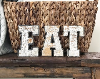 Vintage EAT Sign - ANTIQUE wood Letters - Hand Painted Chippy Paint - Salvaged Authentic Rustic Home Decor - Old Shabby Chic - Farmhouse