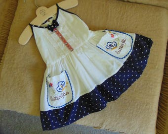 Darling Vintage Little Girl's Dress sz 1 Polka Dots Embroidery