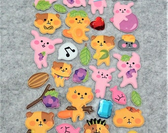 Mixed Cute Puffy Rhinestones Orange Pink Animal Stickers