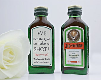 Peel and Stick Wedding Jagermeister Labels •  Mini Bottle Shot Wedding Gift Favours  • Custom Small Bottle Tags • Bottle Stickers 2cl 4cl