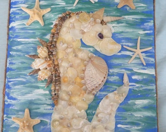 Seashell Sea Unicorn Wall art_beach home decor_seashell_mothers day gift_shell art_seahorses