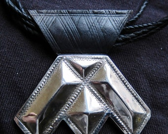Tuareg Amulet 'Khomeissa' Silver on Leather with Cords