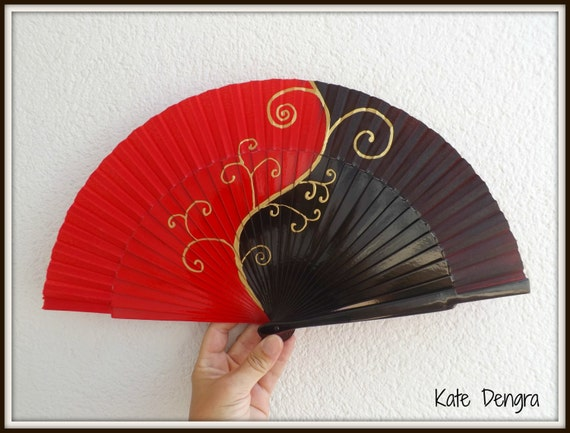 Posh Black and Red with Gold Swirl SIZE OPTIONS Hand Fan Art Deco Bling Fancy Swirl Style Color Choice Hand Painted by Kate Dengra Spain