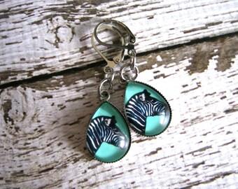 Zebra Earrings : Glass Drop Teal Jewelry