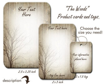 Cartes de boucle d'oreille, bijoux carte, carte personnalisée, Tags, étiquettes de produits, étiquettes de collier, fond bois, Design, étiquettes d'arbre