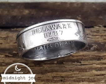 Delaware Coin Ring - 90% Silver State Coin Ring - Silver Coin Ring - State Quarter Ring - Matching Rings - Silver Wedding Rings - State Ring