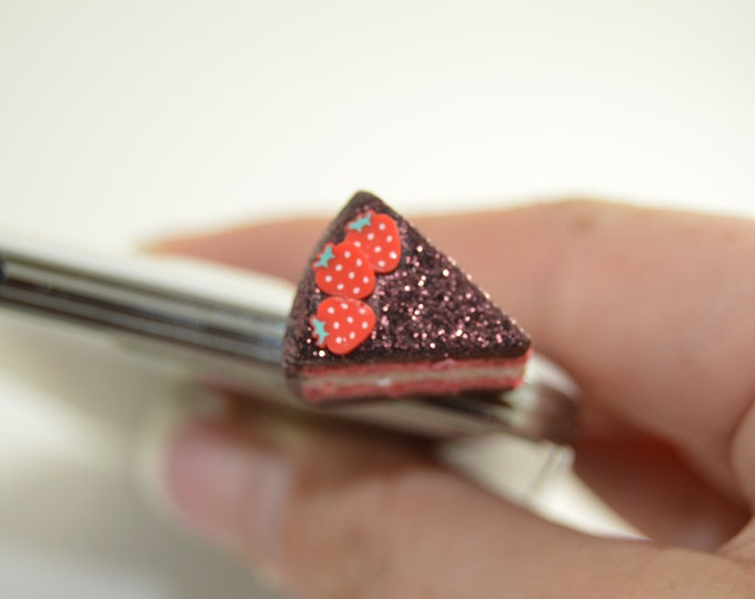 Strawberry Chocolate Cake phone charm, Polymer clay, Miniature food, miniature food jewelry. phone charm