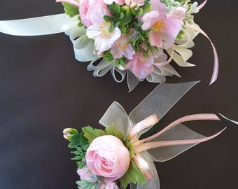 Pink wedding set, Pink peony wedding boutonniere and corsage,  Pink Prom Set
