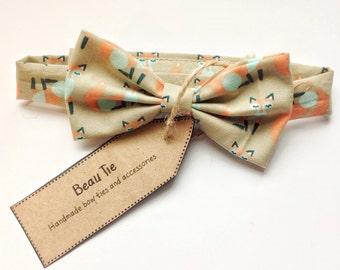 Baby boys bow tie, baby bow tie, orange bow tie, fox print bow tie, cotton bow tie