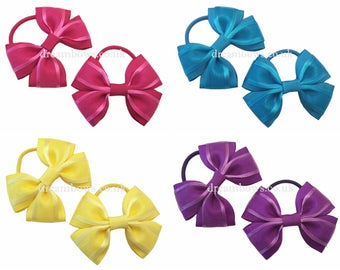 Organza ribbon hair bows for girls, cerise pink, turquoise, yellow or purple organza hair accessory bows bo thick bobbles/elastics/hair ties