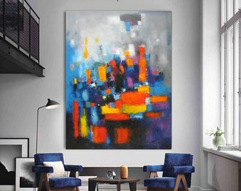 XL Abstract navy turquoise orange red painting Modern giclee canvas large wall art, print on canvas modern navy painting, bright vivid art