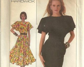 Simplicity 8055 Lovely Vintage Umbrella Sleeve Slim or Full Skirt Dress Sewing Pattern Misses Size 10 Easy