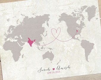 Hereandthereshop etsy alternate world view map wedding guest book alternative map wedding gift custom map gumiabroncs Image collections